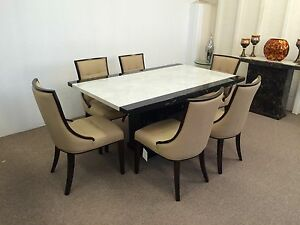 Image Is Loading Marble Dining Table 180cm And 6 Beige Chairs
