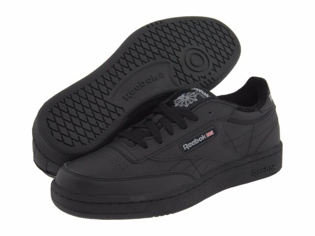 8488c2f12325 Reebok SNEAKERS Black Leather Lace Club C II Boys Size 1 1 2