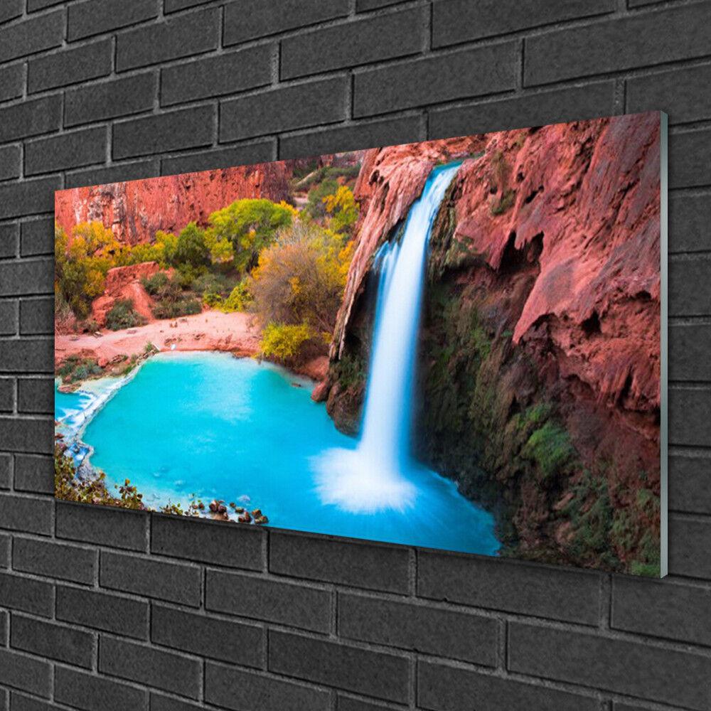 Image sur verre Tableau Impression 100x50 Nature Chute D'eau Montagnes