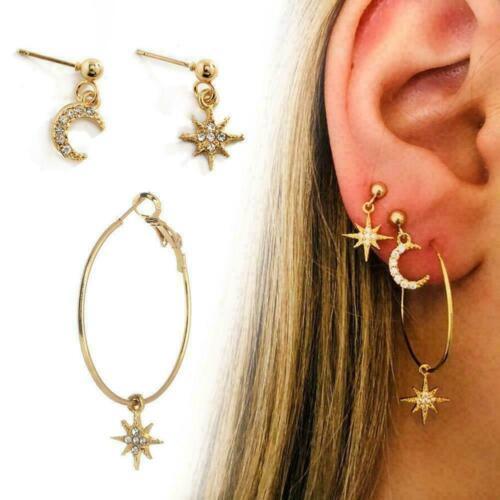 Asymmetrische Star Moon Ohrringe Frauen Gold Long Ear Jewelry Heiß Eardrop S3R4