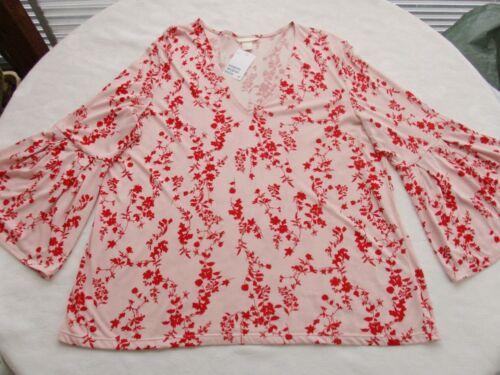 Traumhaft.Shirt Bluse 44 46 48 50 L XL H/&M Rosé+Rot Trompet.Ärmel Viskose Tunika