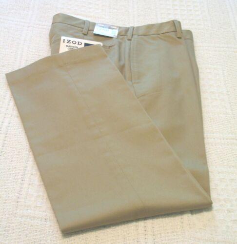 32x34 NWT Mens Izod Light Tan 100/% Cotton Flat Front Straight Fit Pants//Slacks