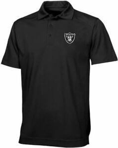 Oakland Raiders Moist Management Birdseye Mens Black Polo