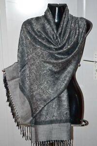 foulard écharpe étole chale scarf shawl pashmina laine soie wool silk neuf