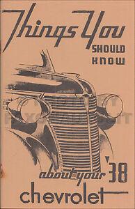 1938 Chevrolet Manuel Du Propriétaire Chevy Voiture Et Sedan Livraison