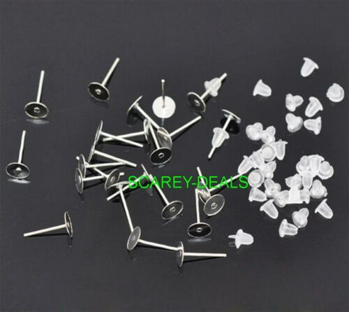 100 6mm Silver Plated FLAT PAD STUDS  earring posts free backs 1ST CLASS POST