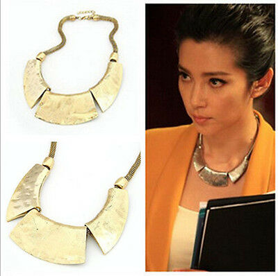 Vintage Women Gold Pendant Chain Bib Chunky Choker Statement Necklace Jewelry
