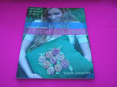 COLLECTABLE KNITTED THROWS AND CUSHIONS BOOK 25 PROJECTS BY CLAIRE CROMPTON
