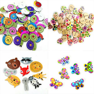 50Pcs-Bulk-Mixed-Colorful-Wooden-Sewing-Buttons-Scrapbooking-DIY-Craft-2-Holes