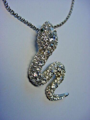 Necklace - Crystal Encrusted Snake Pendant - Choke