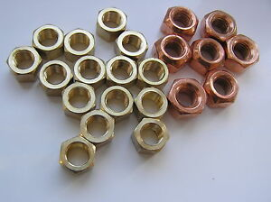 EXHAUST-MANIFOLD-NUTS-BRASS-STL-COPPER-FLASHED-UNF-034-UNC-amp-M8-amp-M10-FINE-amp-COARSE