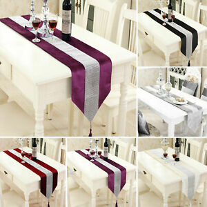 STRASS-Table-Runner-sets-de-table-epais-velours-chenille-Mariage-Noel-Fete-Decor