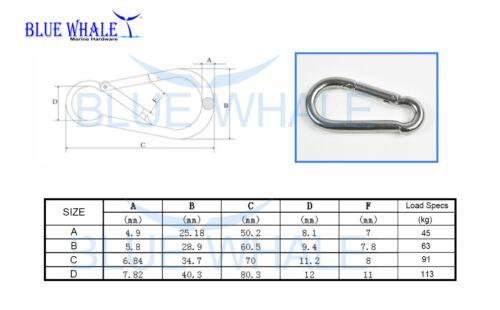 "B: 2-3//8"" 10PCS 316 S.S Carabiner Snap Hook USA BL31520694"