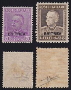 Eritrea 1928-29 Effige V.E.III 2 val. nuovi g. mista MNH** il n.137 firma Sorani