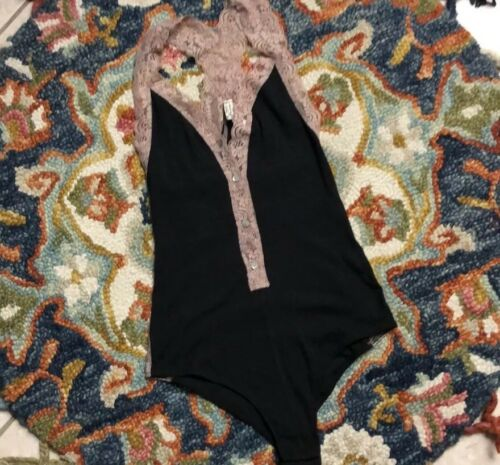 Free People Naughty But Nice Bodysuit Black Size Small NWT