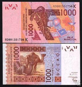 WEST AFRICAN STATES BURKINA FASO 1000 1,000 FRANCS 2003 P 315 C UNC