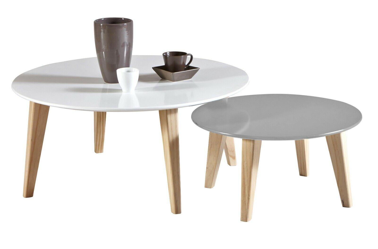 Conjunto 2 mesas de centro round color blanco mate y gris salón...