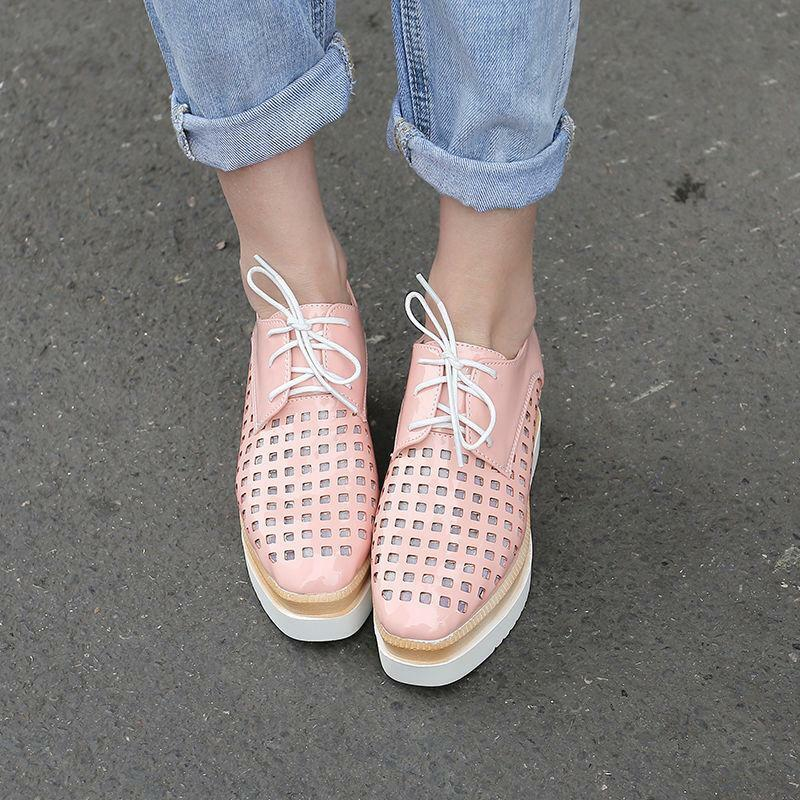 Womens platforms sneakers lace up loafers wedge heel hollow Out  shoes US Size