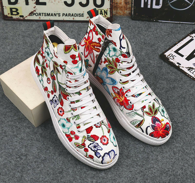 Uomo Pelle Embroidery Flowers Lace Up Fashion Skateboarding Scarpe Hot