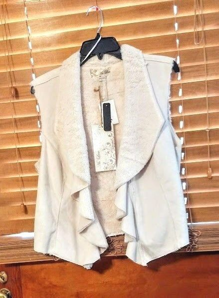 Au Lieu vest top women's size Large Ivory faux fur & suede NEW fuzzy inside