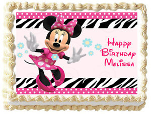 Minnie Mouse Birthday Image Edible Cake Topper Ebay