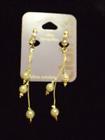 Clip On Earrings Pearl And Chain Silver Tone Non Pierced Dangle Claire's