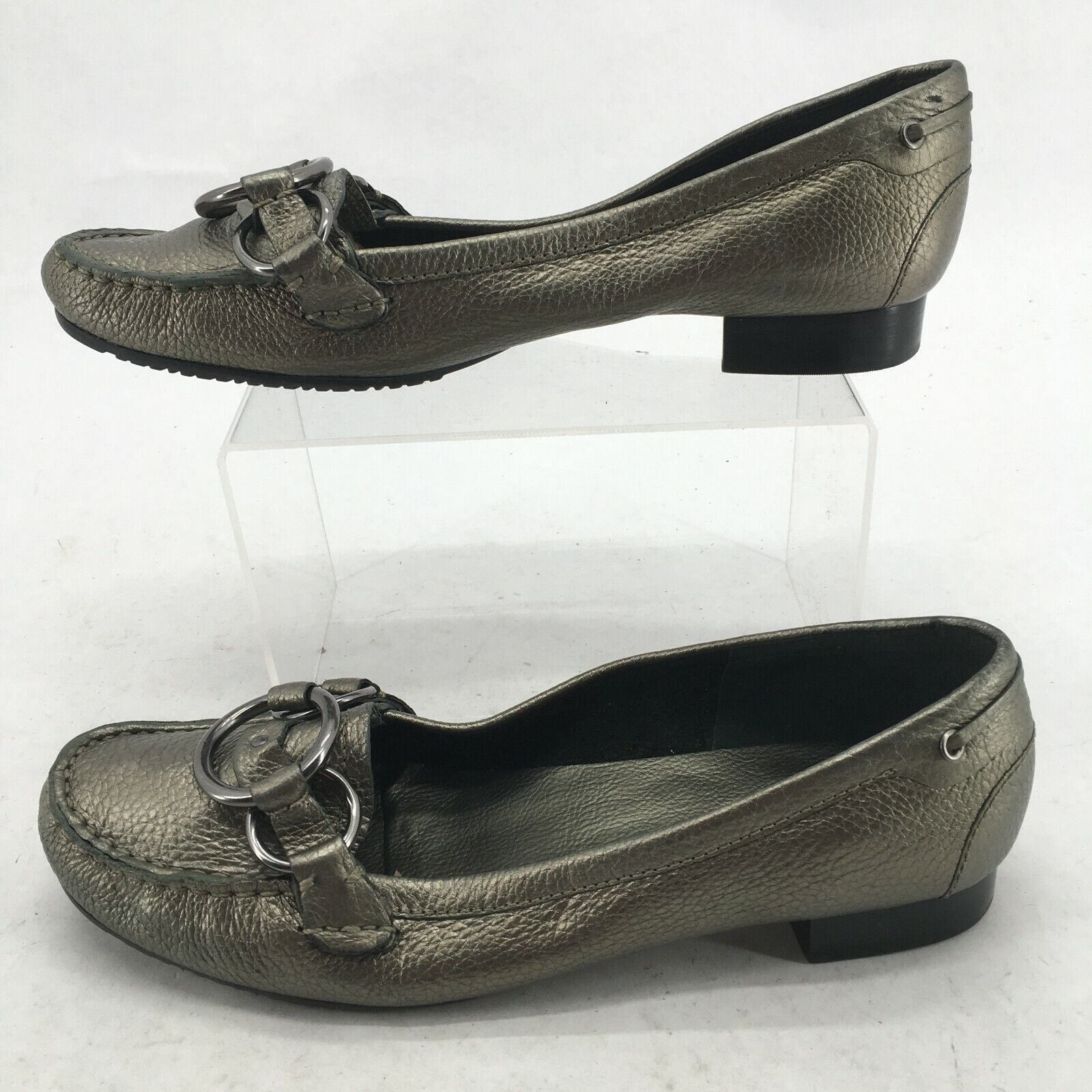 Talbots Womens 9.5B Slip On Moc Toe Loafer Casual Comfort Shoes Bronze Leather