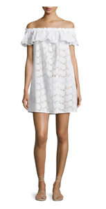 350 NWT TORY BURCH  BRODERIE DRESS COVERUP OFF-SHOULDER ANGLAISE COTTON WHITE M
