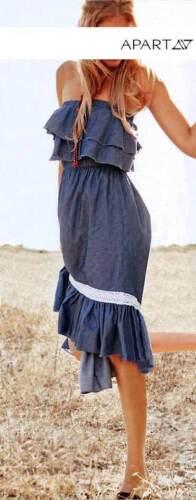 APART Asymmetrisches Bandeau-Volant-Kleid NEU!! Blau denim KP 109,-€ SALE/%/%/%