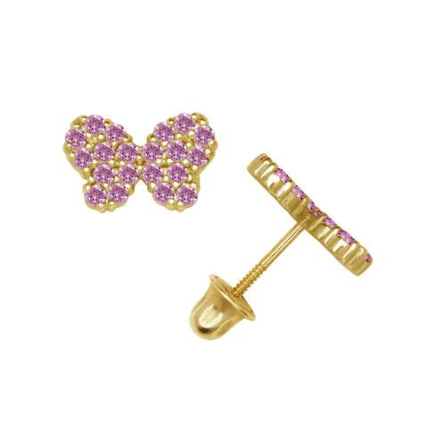 14k Yellow or White Gold Butterfly CZ Stud Earrings