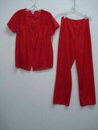 USA Made Nancy King Lingerie Soft Luster Nylon Long Pajama Size S Red #981Q
