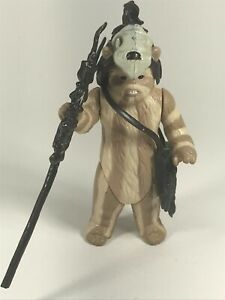 Star-wars-vintage-figurine-Logray-Ewok-Complete-with-Staff-1983-LFL-Hong-Kong-Near-Comme-neuf