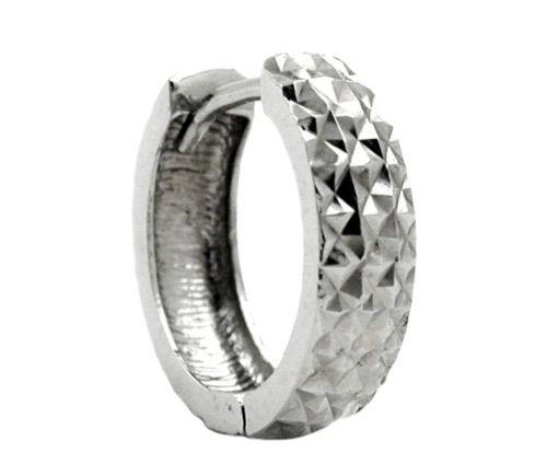 925 real plata rhodiniert *** señores single-arete creole diamantado 13 mm