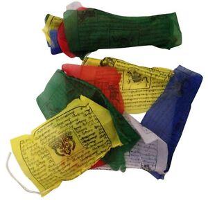 HAND-MADE-TIBETAN-BUDDHIST-PRAYER-FLAGS-WIND-HORSES-NEPAL-10-FLAGS-1-5m