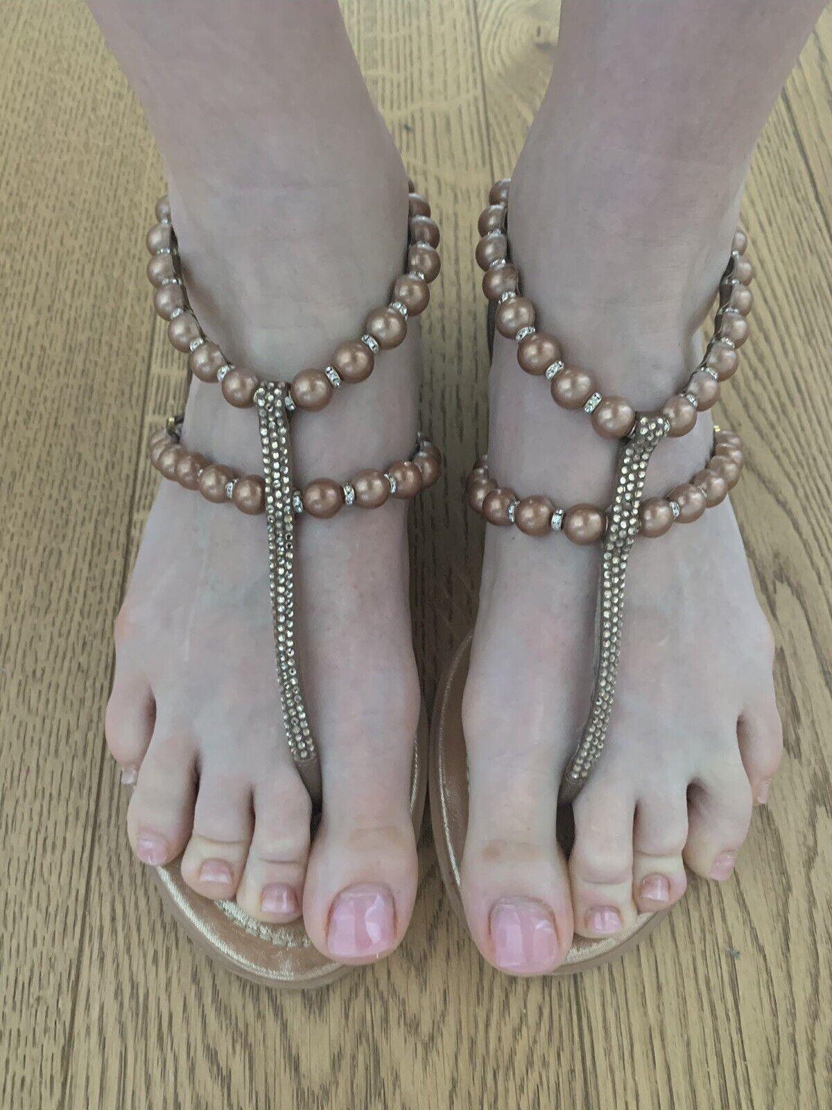 Ren Caovilla Venezia Sandals Flip Flop Bronze Pearl Swarovski NP  990  prendiamo i clienti come nostro dio