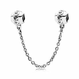 New-Authentic-Genuine-Pandora-Silver-Charm-Love-connection-safety-chain-791088