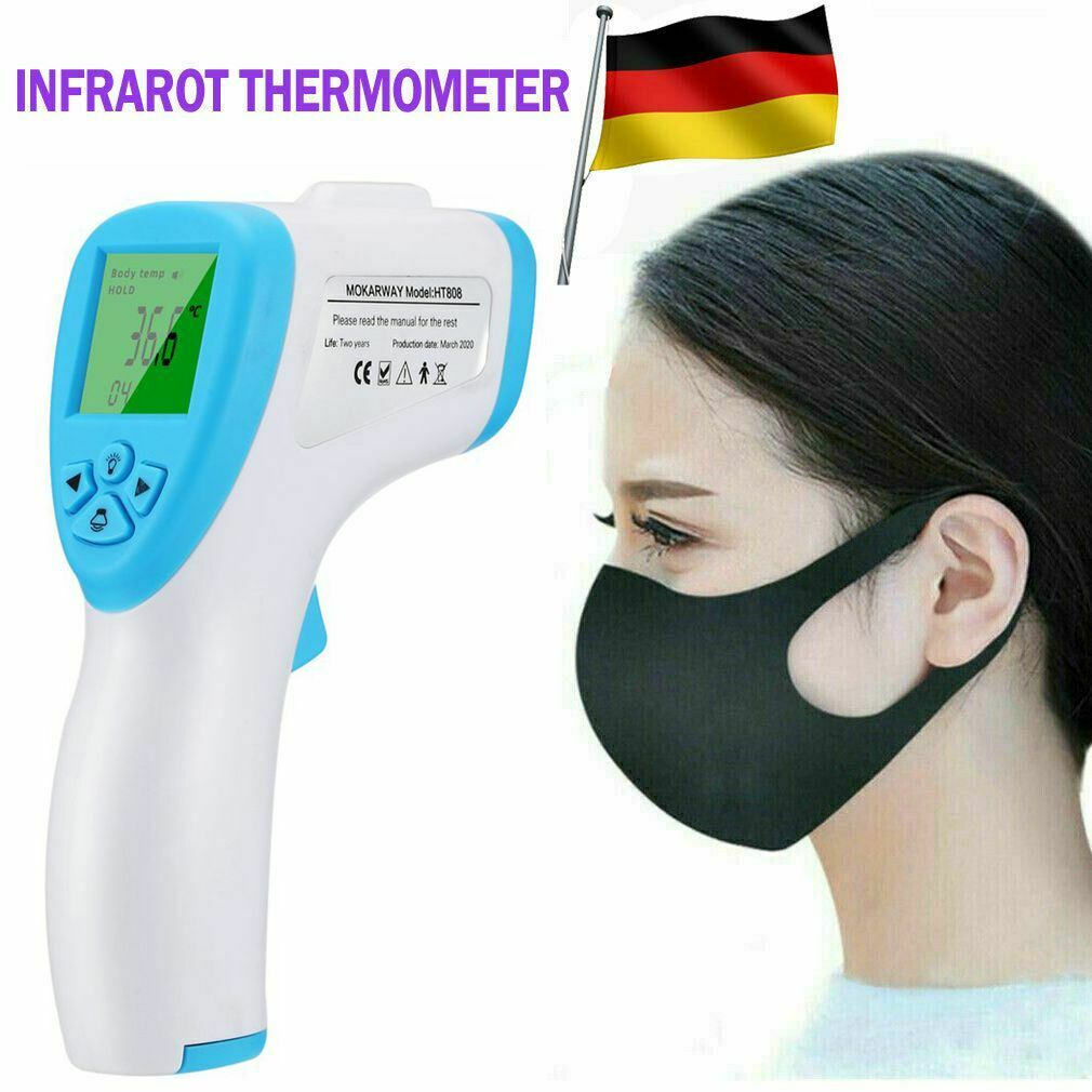Infrarot Stirn Digital Thermometer IR Laser berührungslos mit 3 Farbe Backlight