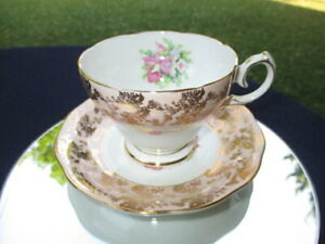 CUP-SAUCER-QUEEN-ANNE-LARGE-PINK-ORCHIDS-GOLD-CHINTZ-LACE-BLUSH-PINK-FIELDS