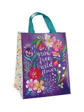 """Katie Daisy """"Grow Free Wildflower"""" Handy Tote Reusable Shopping Bag 11.75"""" x 9"""""""