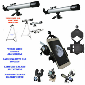 """120X TELESCOPE FULL 57"""" TRIPOD LUNAR AND FOR STAR OBSERVATION + SMARTPHONE MOUNT"""