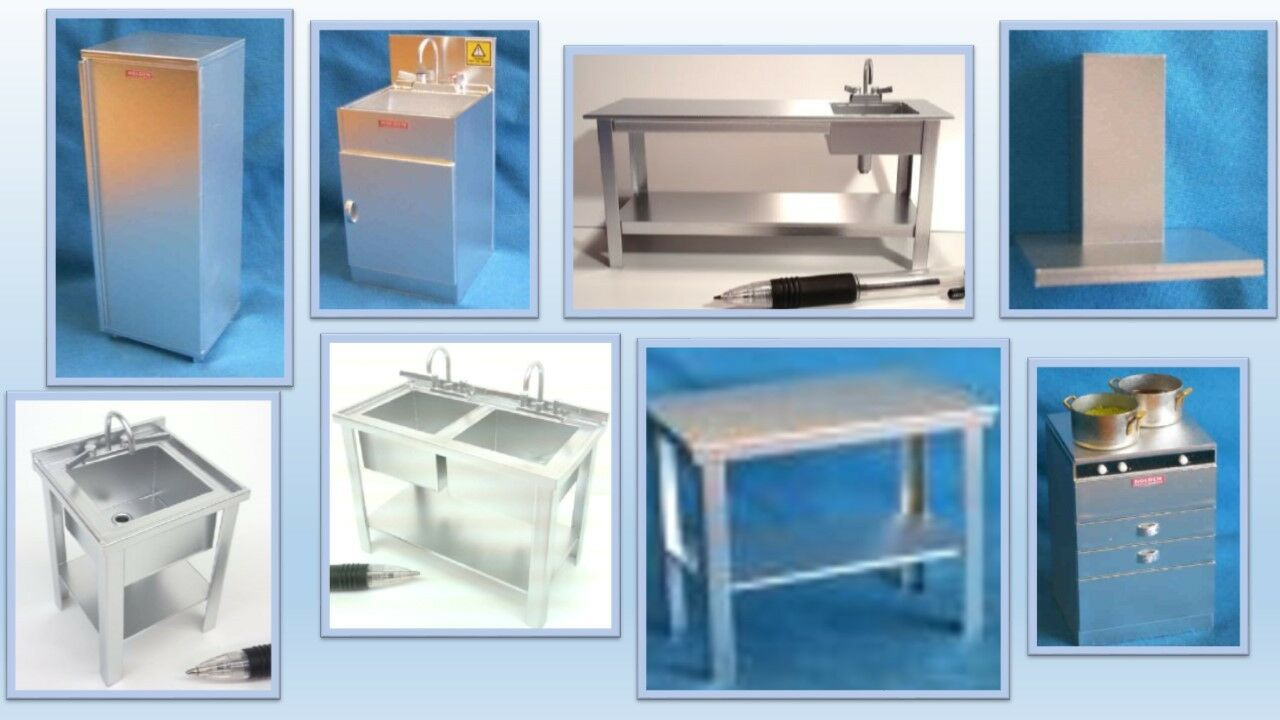 1 12 dolls house miniature  stainless steel  kitchen equipment  8 to choose.