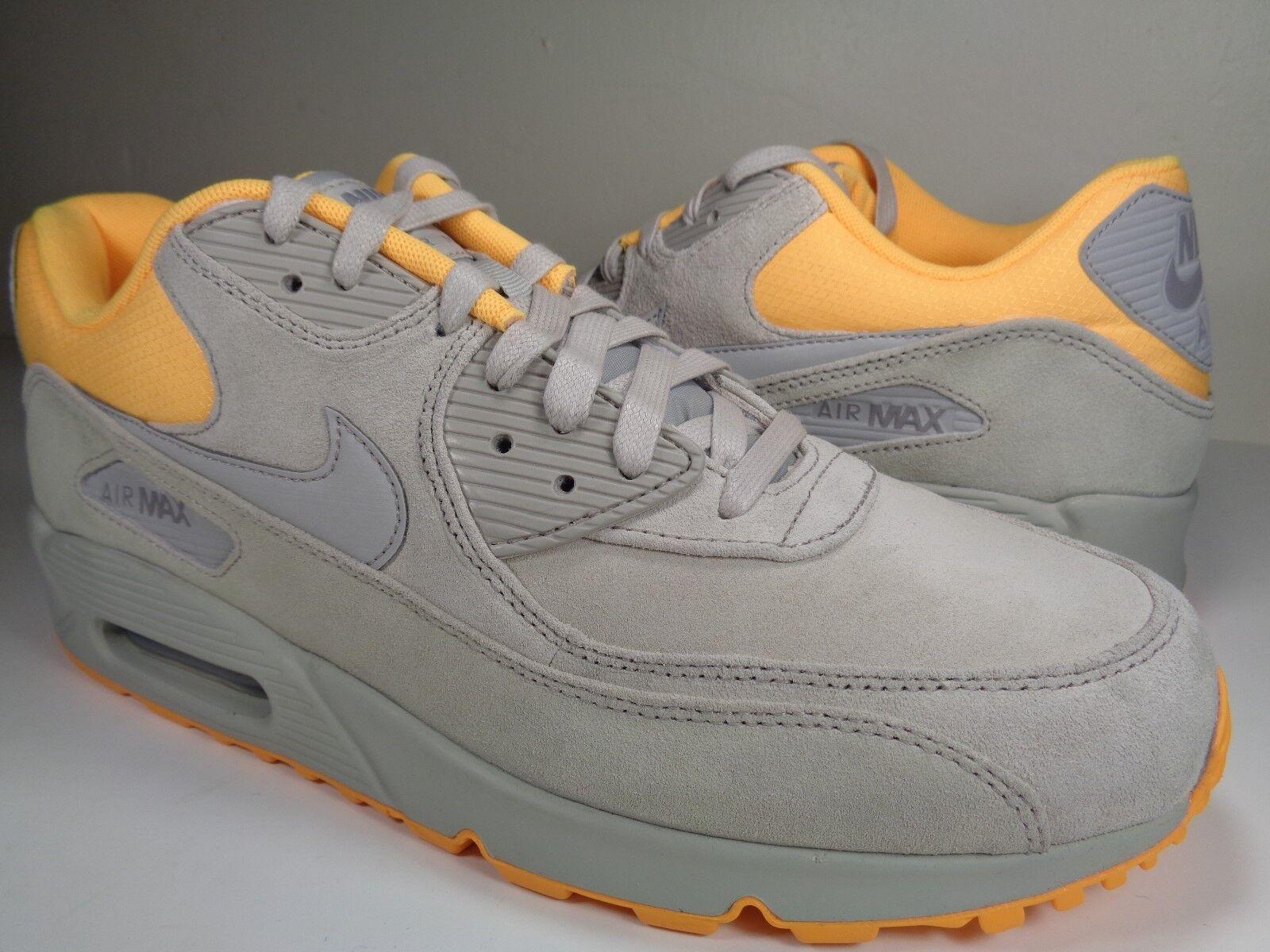 Nike Air Max 90 Premium Pale Grey Laser Orange Yellow Rare SZ 11 (333888-028)