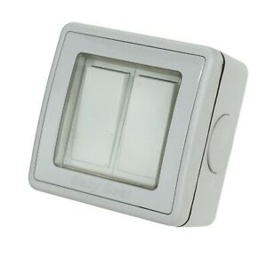 2 Gang 2 Way Ip56 Weatherproof Outdoor Light Switch 10a Garden Lighting Ebay