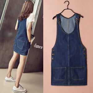 f885a03d812 Image is loading Women-Fashion-Denim-Overall-Jumper-Dress-Women-Multiple-