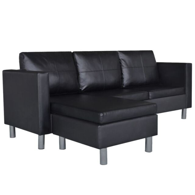 Black Artificial Leather Sectional Sofa Revisible Chaise Lounge Modern Couch