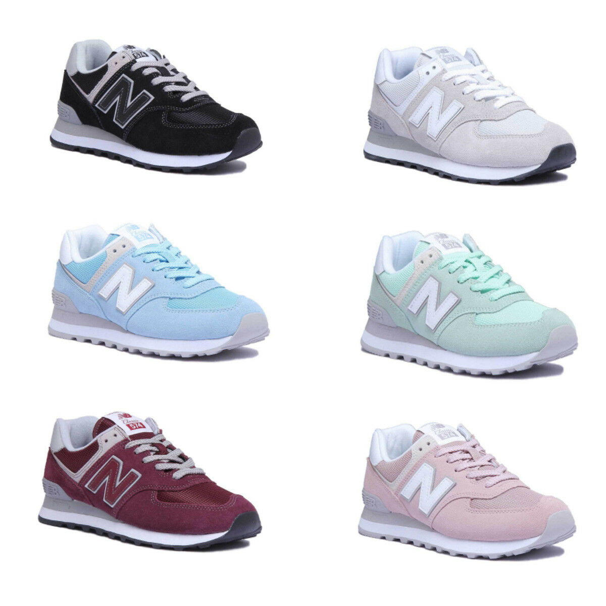 New Balance Wl574Esm Womens Mint Suede Leather Trainer