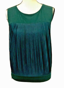 Ann Taylor LOFT Women's Tank Top Green Scoop Neck Pintuck Petites SP