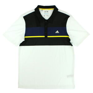 Details about Adidas Mens Climacool Engineered Block Golf Polo Shirt Black White Navy Medium
