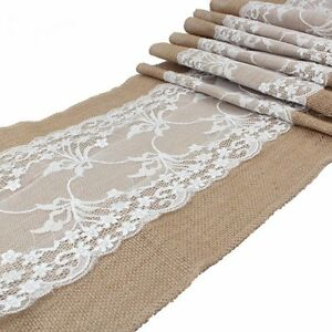 30*275cm Vintage Burlap White Lace Hessian Table Runner Jute Wedding Decorations