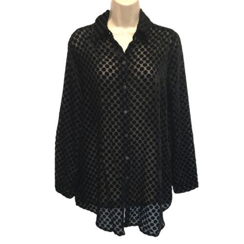 Foxcroft Black Velvet Polka Dot Burnout Tunic Top Size 12
